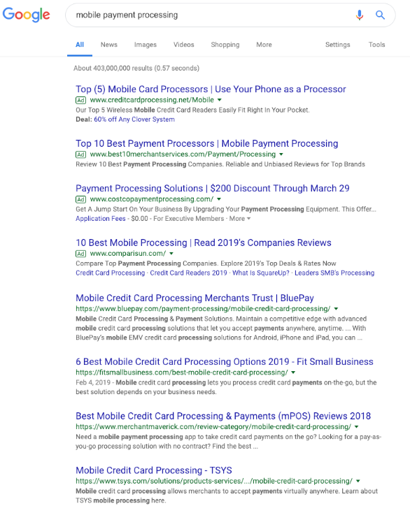 Google Search results 2