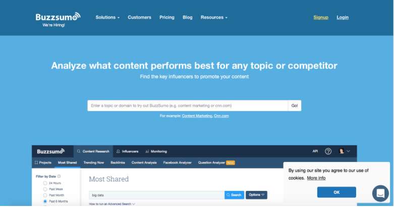 Buzzsumo: trending topics and social media influencers